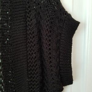 united states sweaters Sweaters - Ladies cropped  black crocheted sweater